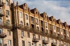 Fassade des Gebäudes errichtet in sowjetische Zeiten kiew lizenzfreies stockfoto
