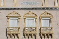 Fassade des Heredia-Theaters in Cartagena Stockbilder