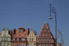 Fassade des historischen Gebäudes im Stadtzentrum von Breslau, Polen Lizenzfreie Stockfotografie