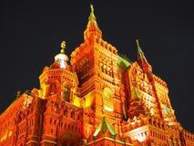 Fassade des historischen Museums auf Rotem Platz in Moskau am Abend in der Beleuchtung Moskau nachts Stockbild
