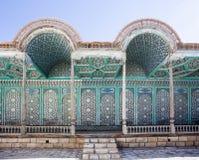 Fassade des Palastes Mohihosa des Emirs in Bukhara, Usbekistan, Zentralasien Lizenzfreie Stockfotos