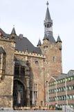 Fassade des Rathauses in Aachen, Deutschland Lizenzfreies Stockfoto