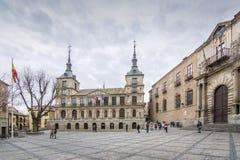 Fassade des Rathauses von Toledo, Spanien lizenzfreies stockfoto