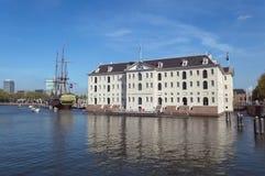 Fassade des Seemuseums in Amsterdam stockbild