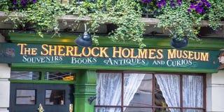 Fassade des Sherlock Holmes-Hauses und -museums 221b im Bäcker Street Lizenzfreie Stockfotografie