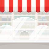 Fassade eines Shop-Speicher-oder Apotheken-Hintergrundes stock abbildung