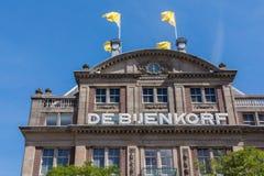 Fassade luxuriösen Kaufhauses Bijenkorf Stockbilder