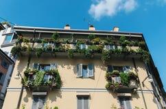 Fassade in Mailand, Italien mit Reben Lizenzfreies Stockbild