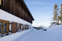 Fassade in Snow. A fassade of a house with snow, photo taken in the mountains in Janaury Royalty Free Stock Photo