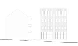 Fassade und Abschnitt des Gebäudes Stockbild