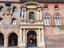 Fassade von ` Accursio Palazzo d im Bologna Stockfotos