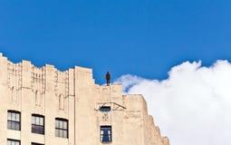 Fassade von Gebäuden mit Eisenmann Stockfotografie