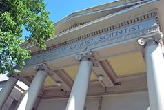 Fassade von ` Kirche von Christus das Wissenschaftler ` in Melbourne lizenzfreie stockbilder