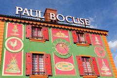 Fassade von Paul Bocuse-Restaurant in Lyon, Frankreich Lizenzfreie Stockfotografie