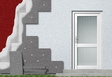 Fassadeisolierungsinstallation Stockbild