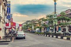 Fassaden der alten Kolonialhäuser in der Stadt von Taiping in Mal lizenzfreie stockfotos