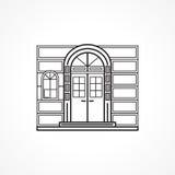 Fassadenbogentürschwarzlinie Ikone Stockfoto
