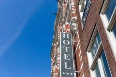 Fassadenhotel in Amsterdam, die Niederlande Lizenzfreie Stockfotografie