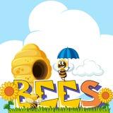 Fassen Sie Bienen und Bienenfliegen um Bienenstock im Hintergrund ab stock abbildung