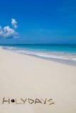Fassen Sie den Feiertag ab, der von den Zweigen auf weißem Sandstrand gebildet wird Stockbilder