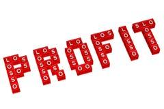 Fassen Sie den Gewinn ab, der mit Blöcken mit Buchstaben L, O, S geschrieben wird Lizenzfreie Stockbilder