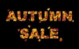 Fassen Sie den Herbstverkauf ab, der vom Herbstlaub gemacht wird, der auf Schwarzem lokalisiert wird Herbstverkaufsfahne stock abbildung