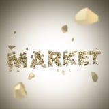 Fassen Sie den Markt ab, der in Stückhintergrund gebrochen ist stock abbildung