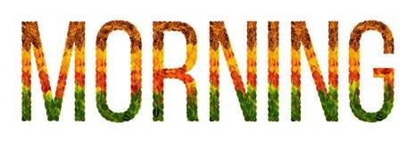 Fassen Sie den Morgen ab, der mit lokalisiertem Hintergrund der Blätter Weiß, Fahne für den Druck, kreative Illustration von farb lizenzfreie abbildung