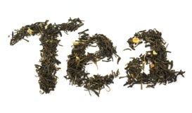 Fassen Sie den Tee ab, der von den trockenen Blättern mit Jasmin gebildet wird Lizenzfreies Stockbild