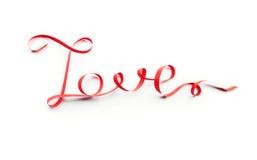 Fassen Sie die Liebe ab, die vom roten Band, auf Weiß gemacht wird Lizenzfreie Stockfotos
