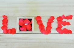 Fassen Sie die Liebe ab, die mit den rosafarbenen Blumenblättern und Kasten mit einzelnem Stein-Rin geschrieben wird Stockfotos