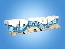 Fassen Sie die Reise ab, die vom Schnee, vom Wasser und vom Sand, auf blauem Hintergrund, Reisekonzept, Illustration 3d gemacht w Stockbild