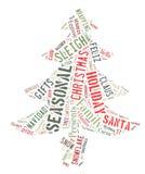 Fassen Sie die Wolke ab, welche die Wörter zeigt, die die Weihnachtsjahreszeit beschäftigen Lizenzfreie Stockbilder