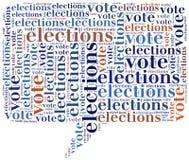Fassen Sie die Wolkenillustration ab, die auf Wahlen oder der Abstimmung bezogen wird vektor abbildung