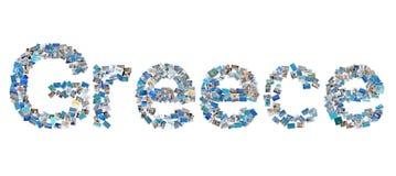 Fassen Sie Griechenland für Ferienkonzepte in den blauen Buchstaben ab. Lizenzfreie Stockbilder