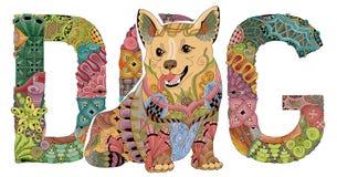 Fassen Sie Hund mit einer Zahl eines Hundes ab Vektor dekorativer zentangle Gegenstand Lizenzfreies Stockfoto