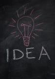Fassen Sie Idee und ligh tbulb ab, das mit Kreide auf Tafel gezeichnet wird Lizenzfreie Stockfotos