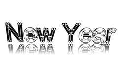 Fassen Sie Jahr vom weißen Metall auf einem Spiegel ab. Stockfotos