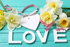 Fassen Sie Liebes-, Herz- und Frühlingsblumen auf Türkis hölzernem backgro ab Lizenzfreie Stockbilder