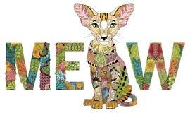 Fassen Sie MIAUEN mit einer Zeichnung einer Katze ab Vektor zentangle Gegenstand für Dekoration stock abbildung