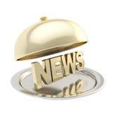 Fassen Sie Nachrichten auf Präsentiertellerplatte unter der Abdeckhaube ab stock abbildung