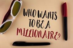 Fassen Sie Schreibenstext ab, der eine Millionärs-Frage sein möchte Geschäftskonzept für Earn mehr Geld, welches das Wissen gesch stockbilder