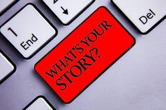 Fassen Sie Schreibenstext ab, was Ihre Geschichten-Frage ist Geschäftskonzept für Connect teilen die einige Zusammenhang-Verbindu stockbild