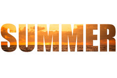 Fassen Sie SOMMER über stürmischem Sonnenuntergang auf dem Mittelmeer ab Wolken und Lizenzfreie Stockfotos