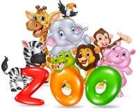 Fassen Sie Zoo mit wildem Tier Afrika der glücklichen Karikatur ab Lizenzfreie Stockbilder