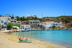 Fassolou beach in Sifnos in Greece Royalty Free Stock Photos