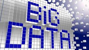 Fasst die großen Daten ab, die von den blauen Würfeln gemacht werden Stockfotografie