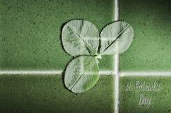 Fasst St Patrick Tag ab, der auf Grünfliesenhintergrund mit Klee für gutes Glück geschrieben wird Lizenzfreie Stockfotografie