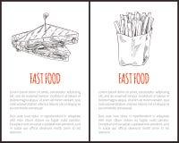 Fastów Food dłoniaki i kanapka wektoru ilustracja ilustracja wektor