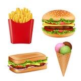 Fastów food obrazki Hamburger kanapka smaży lody i zimno pije chleba 3d realistyczne wektorowe ilustracje odizolowywać ilustracja wektor
